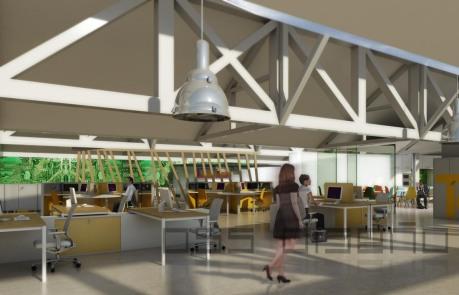 Anteproyecto- oss diseño- infografia 3D oficinas I+D+I-zona recepcion y vestibulo de entrada)